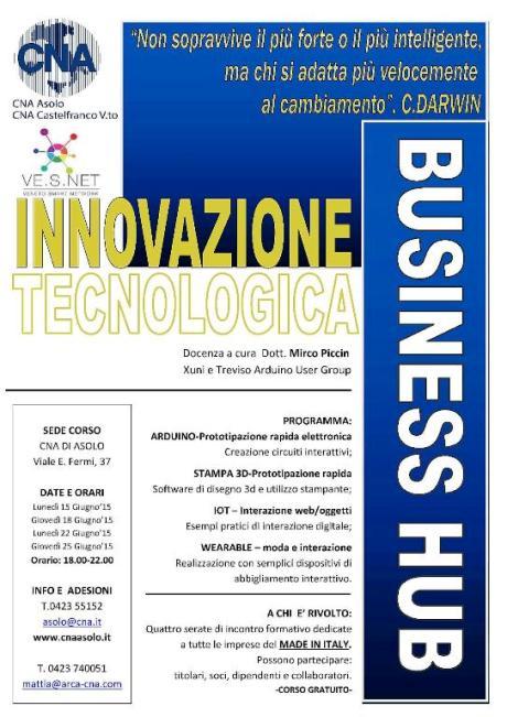 """In partenza ad Asolo il business hub gratuito su """"Innovazione tecnologica"""". Iscrizioni entro il 3 giugno"""