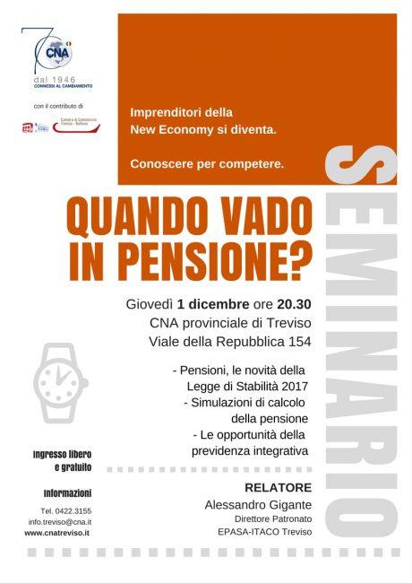 Quando vado in pensione? Iniziativa il 1 dicembre in CNA a Treviso